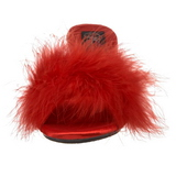 Red Feathers 8 cm BELLE-301F High Women Mules Shoes for Men