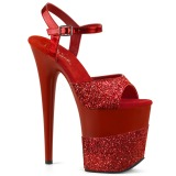 Red Glitter 20 cm Pleaser FLAMINGO-809-2G High Heels Platform