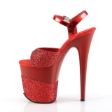 Red Glitter 20 cm Pleaser FLAMINGO-809-2G High Heels Platform