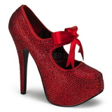 Red Rhinestone 14,5 cm TEEZE-04R Platform Pumps Women Shoes