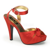 Red Satin 12 cm PINUP COUTURE BETTIE-04 High Heels Platform