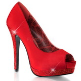 Red Satin 13,5 cm BELLA-12R Rhinestone Platform Pumps Shoes