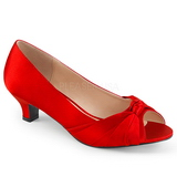 Red Satin 5 cm FAB-422 big size pumps shoes