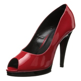 Red Shiny 12 cm FLAIR-474 Platform Pumps Open Toe