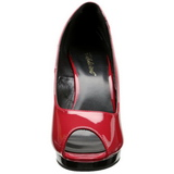 Red Shiny 12 cm FLAIR-474 Platform Pumps Open Toe