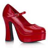 Red Shiny 13 cm DOLLY-50 Mary Jane Platform Pumps