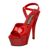 Red Shiny 15 cm FUNTASMA JULIET-209 High Heels Platform