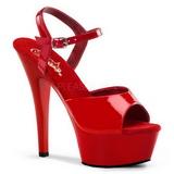 Red Shiny 15 cm Pleaser KISS-209 High Heels Platform