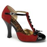Red Suede 10 cm SMITTEN-10 Rockabilly Pumps with low heels