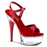 Red Transparent 15 cm CAPTIVA-609 High Heels Platform