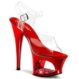 Red Transparent 18 cm MOON-708DMCH High Heels Platform