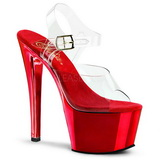 Red Transparent 18 cm SKY-308 High Heels Platform