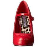 Red Varnished 12 cm rockabilly PRETTY-50 Pumps with low heels