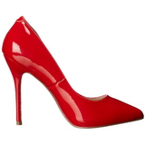 Red Varnished 13 cm AMUSE-20 pointed toe stiletto pumps