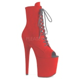 Red faux suede 20 cm FLAMINGO-1021FS Pole dancing ankle boots
