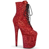 Red glitter 20 cm FLAMINGO-1020GWR Exotic pole dance ankle boots
