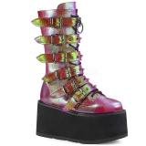Regenboog 9 cm DAMNED-225 plateau laarzen dames met gespen
