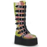 Regenboog 9 cm DAMNED-318 plateau laarzen dames met gespen