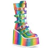 Regenboog Glitter 14 cm SWING-230 cyberpunk plateau laarzen