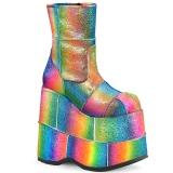 Regenboog Glitter 18 cm STACK-201 Heren Plateau Enkellaarzen