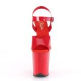 Rode hoge hakken 20 cm FLAMINGO-808N JELLY-LIKE stretch materiaal plateau hoge hakken