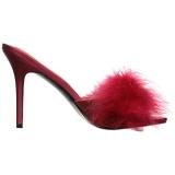 Rood 10 cm CLASSIQUE-01F dames slippers met maraboe veren