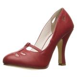 Rood 10 cm SMITTEN-20 Pinup pumps schoenen met lage hakken