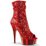 Rood 15 cm DELIGHT-1008SQ dames enkellaarsjes met pailletten
