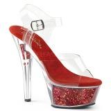 Rood 15 cm KISS-208GF glitter plateau sandalen met hak
