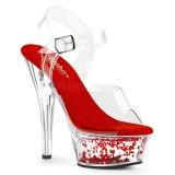 Rood 15 cm KISS-208WHG glitter plateau sandalen met hak