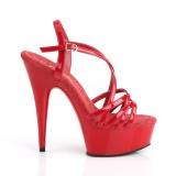 Rood 15 cm Pleaser DELIGHT-613 Sandalen met hoge hakken