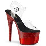 Rood 18 cm ADORE-708-2HGM glitter plateau schoenen met hakken