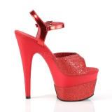 Rood 18 cm ADORE-709-2G glitter plateau sandalen met hak