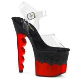 Rood 18 cm SCALLOP-708-2HGM Hologram plateau schoenen dames met hak
