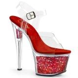 Rood 18 cm SKY-308GF glitter plateau sandalen met hak