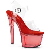 Rood 18 cm SKY-308T Acryl plateau schoenen dames met hak