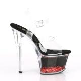 Rood 18 cm SKY-308WHG glitter plateau schoenen dames met hak