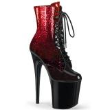 Rood 20 cm FLAMINGO-1020OMB glitter exotic hakken - pole dance enkellaarsjes