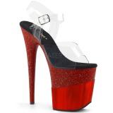 Rood 20 cm FLAMINGO-808-2HGM glitter plateau sandalen met hak