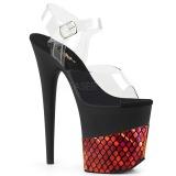 Rood 20 cm FLAMINGO-808HFN Hologram plateau schoenen dames met hak