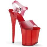 Rood 20 cm FLAMINGO-808N-T pleaser sandalen met plateau
