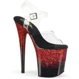 Rood 20 cm FLAMINGO-808SS glitter plateau schoenen dames met hak