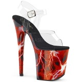 Rood 20 cm FLAMINGO-808STORM Hologram plateau schoenen dames met hak