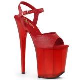 Rood 20 cm FLAMINGO-809T Acryl hoge hakken schoenen pleaser