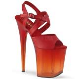 Rood 20 cm FLAMINGO-822T plateau schoenen met hakken