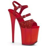 Rood 20 cm FLAMINGO-874 glitter plateau sandalen met hak
