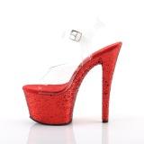 Rood 20 cm SKY-308LG glitter plateau schoenen dames met hak