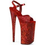 Rood 25,5 cm BEYOND-010LG glitter plateau schoenen dames met hak