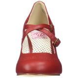 Rood 7,5 cm FLAPPER-35 Pinup pumps schoenen met lage hakken