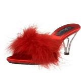 Rood 8 cm BELLE-301F maraboe veren Mules Schoenen